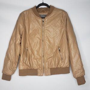 Cavalini Tan PU Leather Bomber Jacket